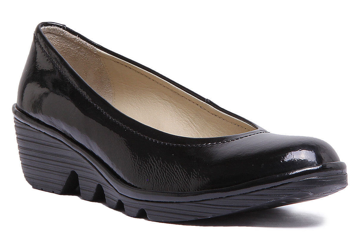 Fly London Pump Womens Leather Black Patent Matt Wedge Pump shoes UK Size 3 - 8