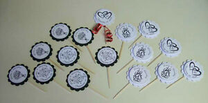 16 WEDDING Personalized Cupcake Toppers party favors picks