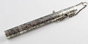 Antique-Solid-Silver-Chatelaine-Fountain-Pen-Holder-Hallmarked-1910