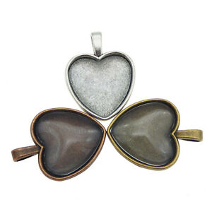 Set-of-x3-Assorted-Heart-Shaped-Bezel-Clear-Glass-Cameo-Charms-Pendants