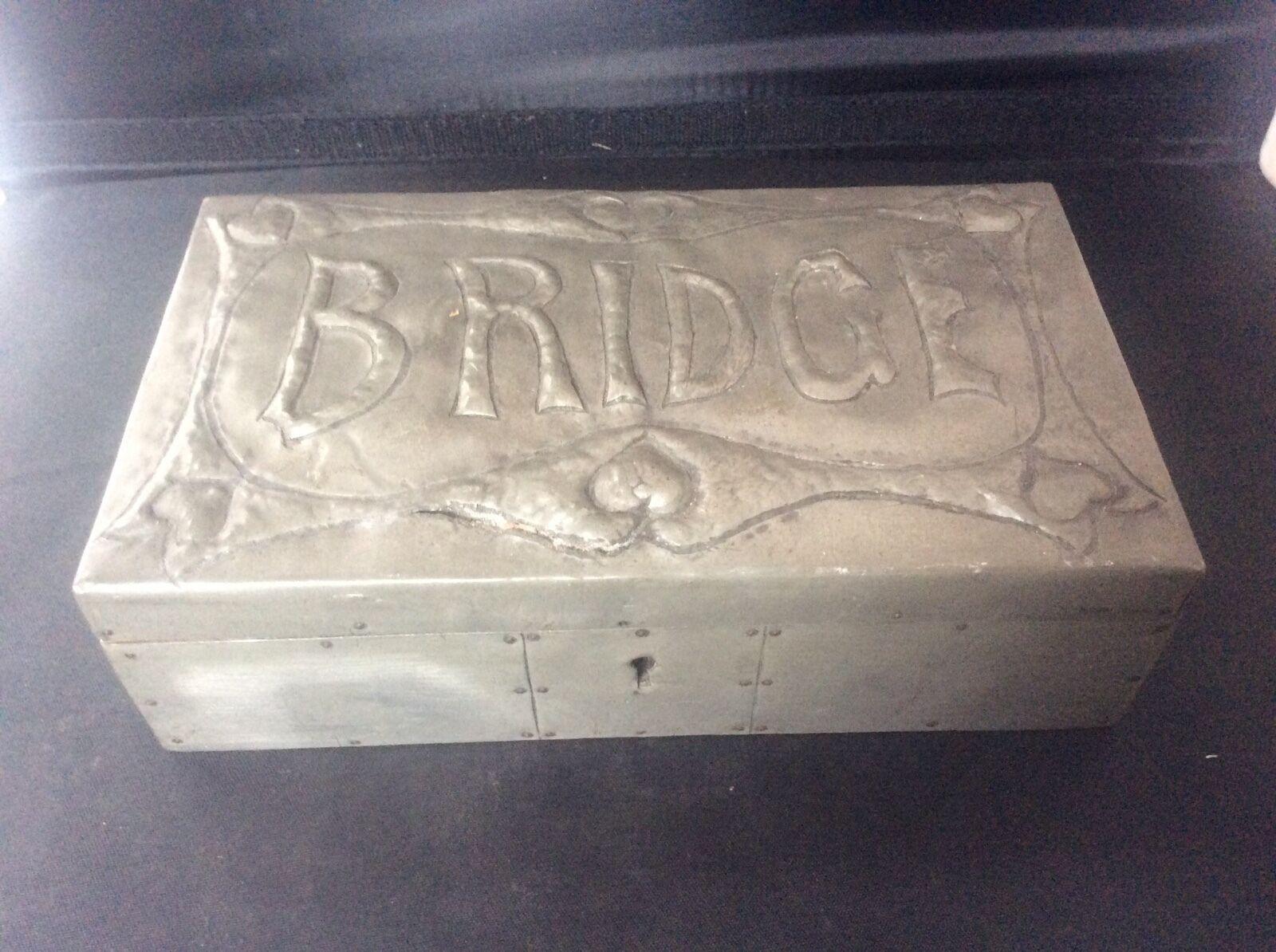 Arts & Crafts Antique handmade Pewter BRIDGE Playing Card Box Cedar Wood Lined