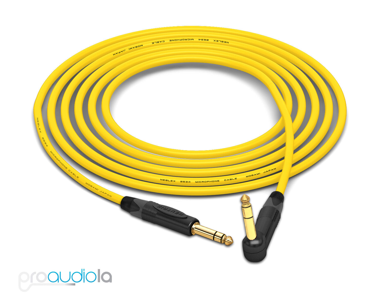 Mogami 2534 Quad Kabel Neutrik Gold 0.6cm auf 90º Trs Gelb 7.6m M 7.6m M