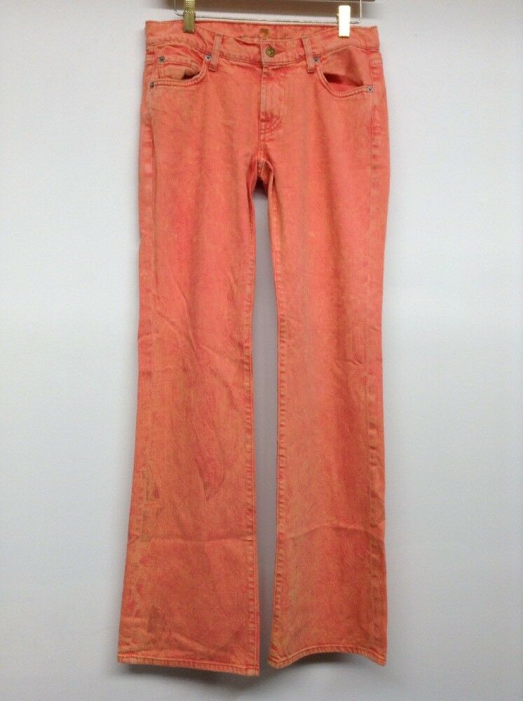 New 7 For All Mankind Women's Bootcut Jeans Red Wash w Hints of Yellow Size 28