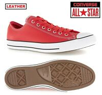 Converse All Star Mens Red Leather Shoes Trainers Uk10(44)
