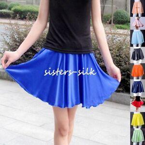 872b296decad Womens 16mm 100% Silk Full Circle Mini Skirts Elastic Waist 35cm ...