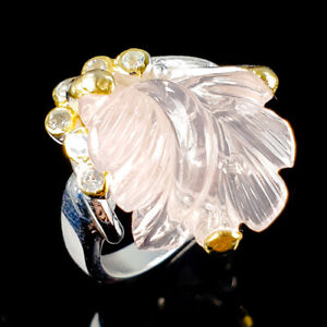 Handmade-Jewelry-Natural-Rose-Quartz-925-Sterling-Silver-Ring-Size-8-5-R114728