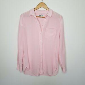 Country-Road-Women-039-s-Silk-Shirt-Baby-Pink-Button-Up-Size-8