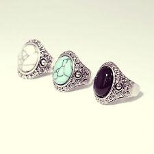 Tibetan Black Stone Silver Ring-Bohemian Jewellery-Vintage Boho Jewelry-Aztec