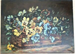 """BIG 27"""" ANTIQUE OIL PAINTING STILL LIFE PANSY FLORAL COUNTRY FOLK ART PRIMITIVE"""