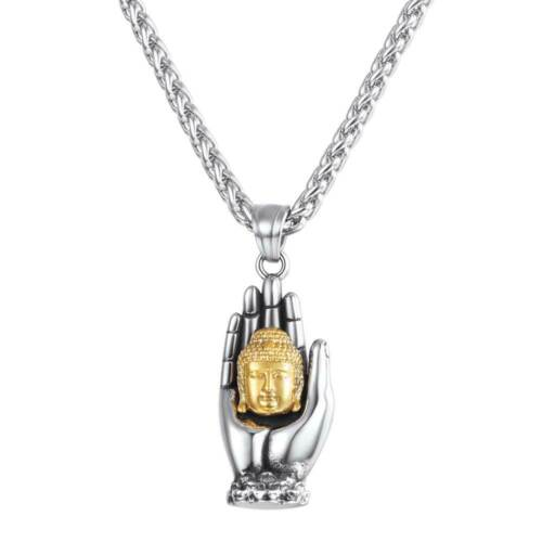 U7 Buddha in Hand Charm Stainelss Steel Religious Buddhist Necklace Gift for Men