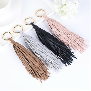 Women-Bag-Accessory-PU-Leather-Tassel-Charm-Key-Chain-Ring-Handbag-Ornament