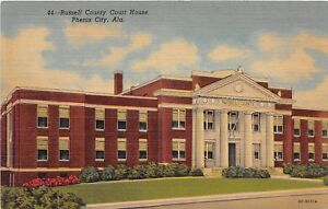 D61-Phenix-City-Alabama-AL-Postcard-Linen-Russell-County-Court-House