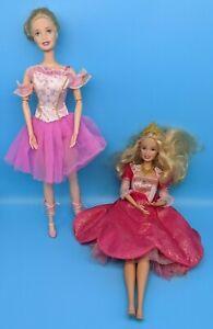 Barbie-Doll-Lot-of-2-Ballerina-Ballet-Dancer-Dolls-Articulated-for-ooak-play