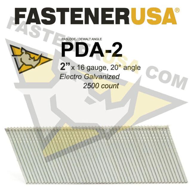 """1 Case 2/"""" 16 Gauge 20 Degree Angled Finish Nails for DeWalt and Paslode 12,000"""