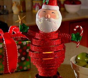 image is loading qvc metal bobble christmas decoration santa with flameless - Qvc Christmas Decorations