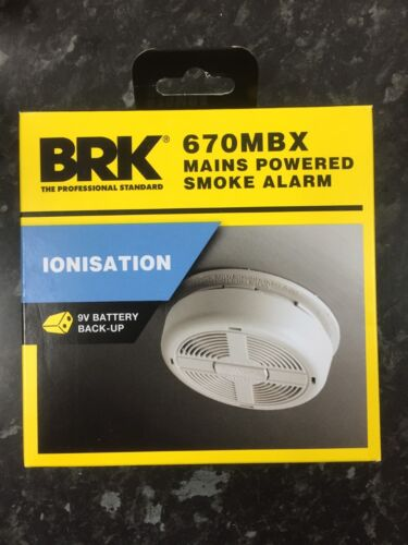 BRK 670MBX Mains Powered Ionisation Smoke Alarm with Alkaline Battery Back-up