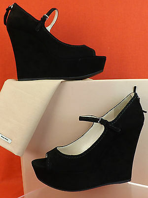 NIB MIU MIU PRADA BLACK SUEDE PEEP TOE MARY JANE PLATFORM WEDGES 41 10 $630