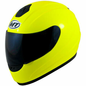 MT-Thunder-Solid-Gloss-Fluo-Yellow-Adult-Motorcycle-Helmet-Small-CLEARANCE