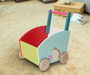 Details About Classic Wooden Baby Easy Walker Wagon Push Along Toy Storage Kid Child Play