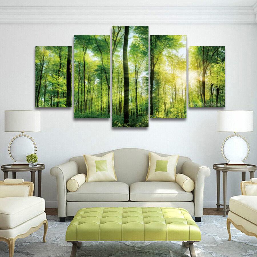 Natural Grün Forest Landscape 5 Pieces Canvas Wand Home Decor Poster Kunstwork