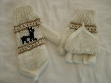 New From Peru Flip Top Mittens Alpaca Llama Design Teen - Adult Small #10644