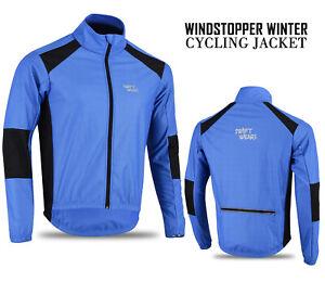 Mens-Cycling-Windstopper-Winter-Jacket-Thermal-Fleece-Windproof-Coat-Blue