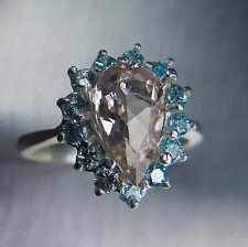 Natural Pink Morganite Emerald & natural blue zircons 925 Sterling silver ring