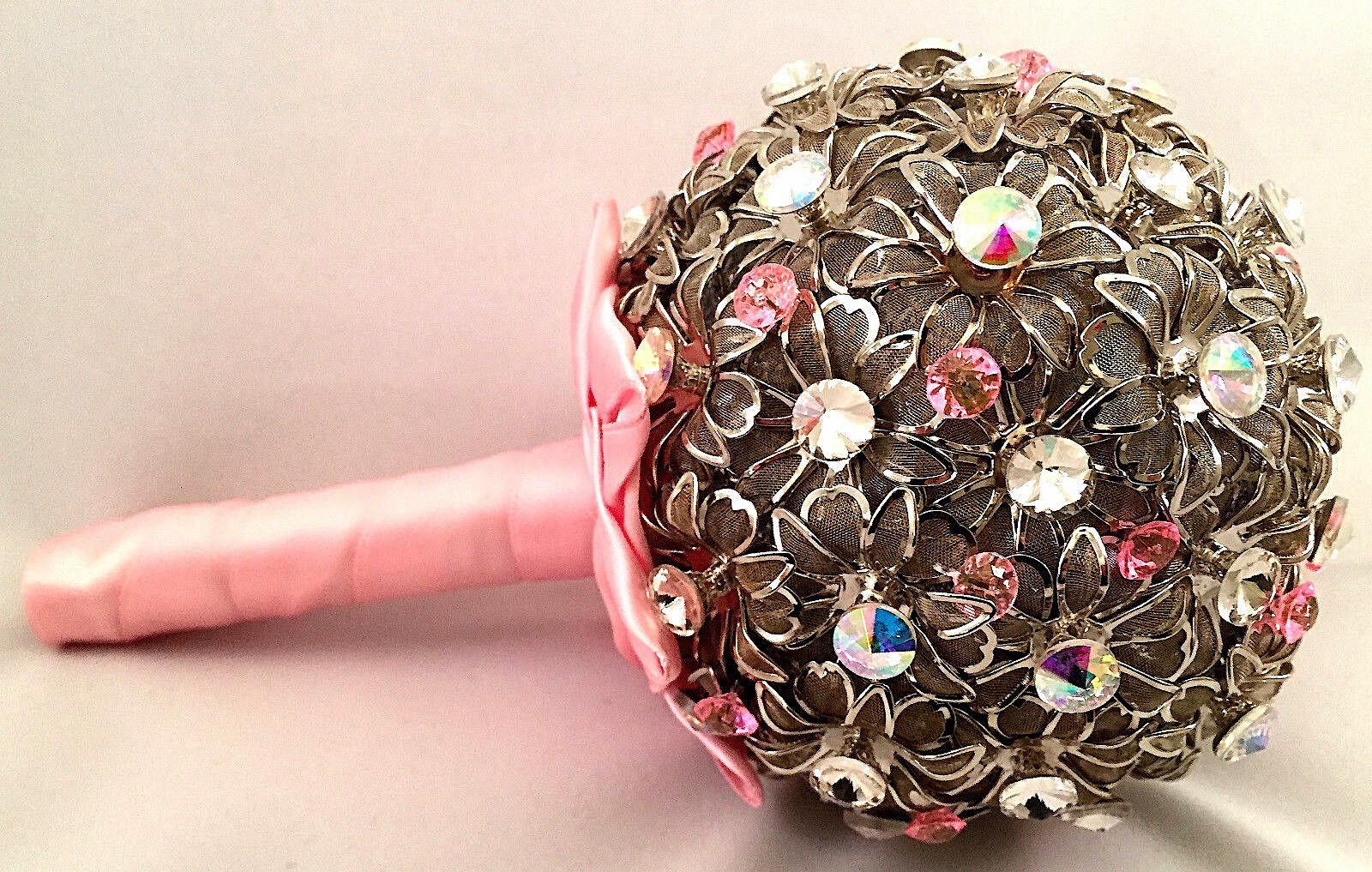 Nouveau Mariage Broche Bouquet Rose & Argent Clair Fait à la main avec cristaux Swarovski