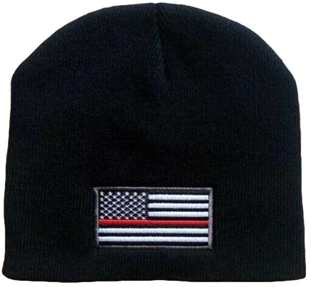 b695b1c7c77 Thin Red Line Knit Hat Cuff Watch Cap Beanie Firefigher Support US American  Flag