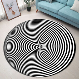 Dizziness Black White Striped Swirl Round Mat Bedroom Living Room Area Rugs Ebay