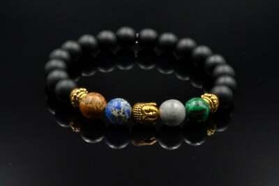Umile Bracciale Da Uomo Buddha Edelstein Bracelet Malachit Jaspis Onyx Regalo Per Uomo-mostra Il Titolo Originale