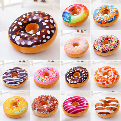 3D Plush Donut Pillow Cover Home Sofa BedDecor Cushion Toy Gift Waist Support