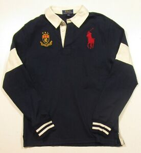 192d9fb26ec5 Polo Ralph Lauren Boys Navy Big Pony Crest Cotton Rugby Long Sleeve ...