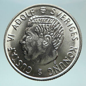 1954-SWEDEN-King-GUSTAV-VI-ADOLF-2-Kronor-LARGE-Silver-SWEDISH-Coin-i80861