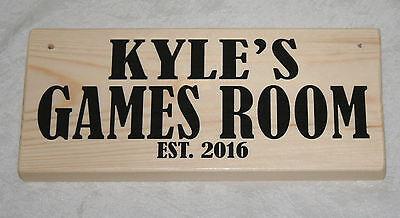 Personalised GAMES ROOM Est. 2016 Garage Workshop Door Sign Plaque Wood Gift Dad