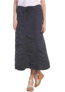 XCVI Womens Navy Stretch Poplin Double Shirred Panel Skirt Sz XS 7607