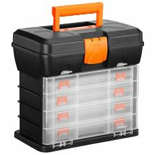 Utility Tool Box Fishing Tackle Carry Case Tools Organiser 4 Adjustable Drawers