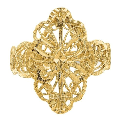 Genuine 14k Yellow Gold Diamond Cut Filigree Ring  2.70 gr