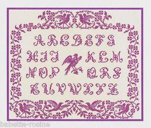 Grille Point De Croix Abecedaire Aux Oiseaux Ref 1007 Ebay
