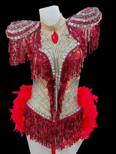 Da NeeNa M5401 Fancy Rabbit big Tail Showgirl Vegas Stage Bustle Bodysuit XS-XL