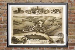 Vintage-Valley-Forge-PA-Map-1890-Historic-Pennsylvania-Art-Old-Industrial