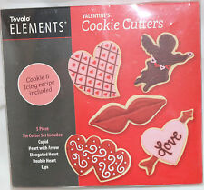 Tovolo Elements VALENTINE'S DAY Cookie Cutters Set 5 NEW Hearts Lips Cupid CUTE