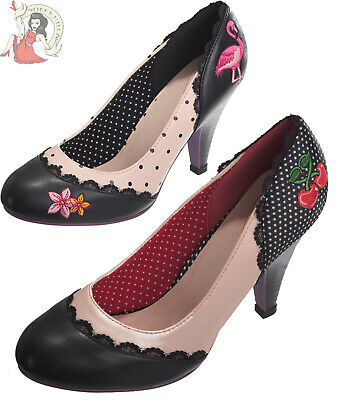 DANCING DAYS by Banned RAYNA CHERRY FLAMINGO polka dot SHOES | eBay