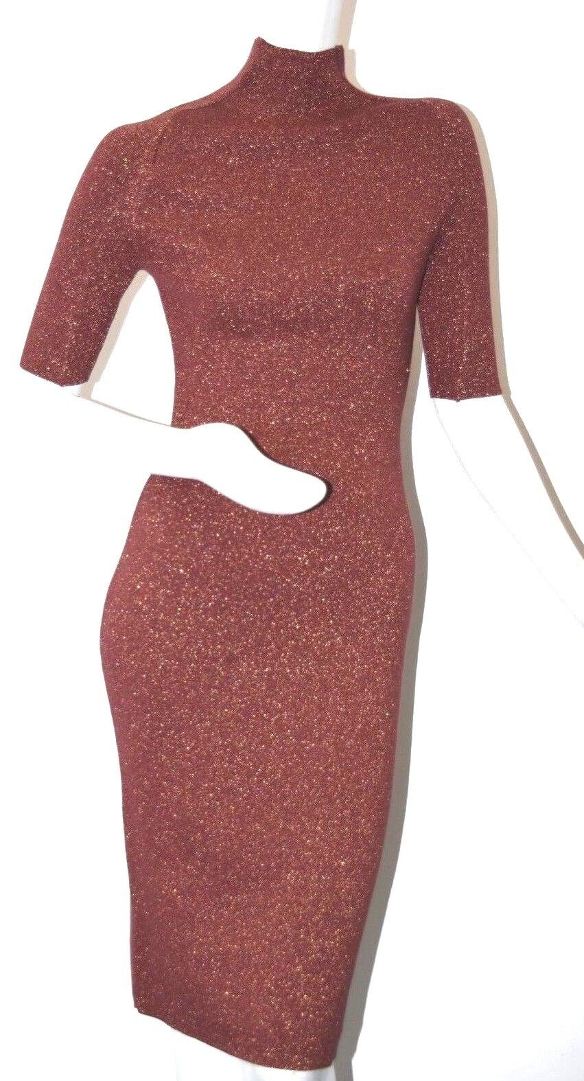 NEW LELA pink Knit Dress Red Burgundy Wine gold Metallic Lurex XS S