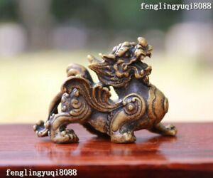 China pure brass copper Dragon statue small pendant 7cm