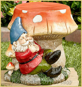 Large Mushroom Gnome Plant Stand Foot Stool Statue Garden