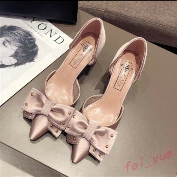 Women's Satin Rivet Bow Knot Pointed on Toe Slip on Pointed Med Block Heels Pumps Shoes Hot a5575c