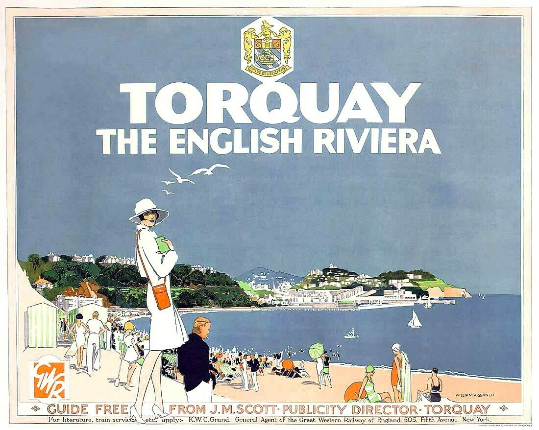 POSTER HONG KONG THE RIVIERA OF THE ORIENT TOURISM TRAVEL VINTAGE REPRO FREE S//H