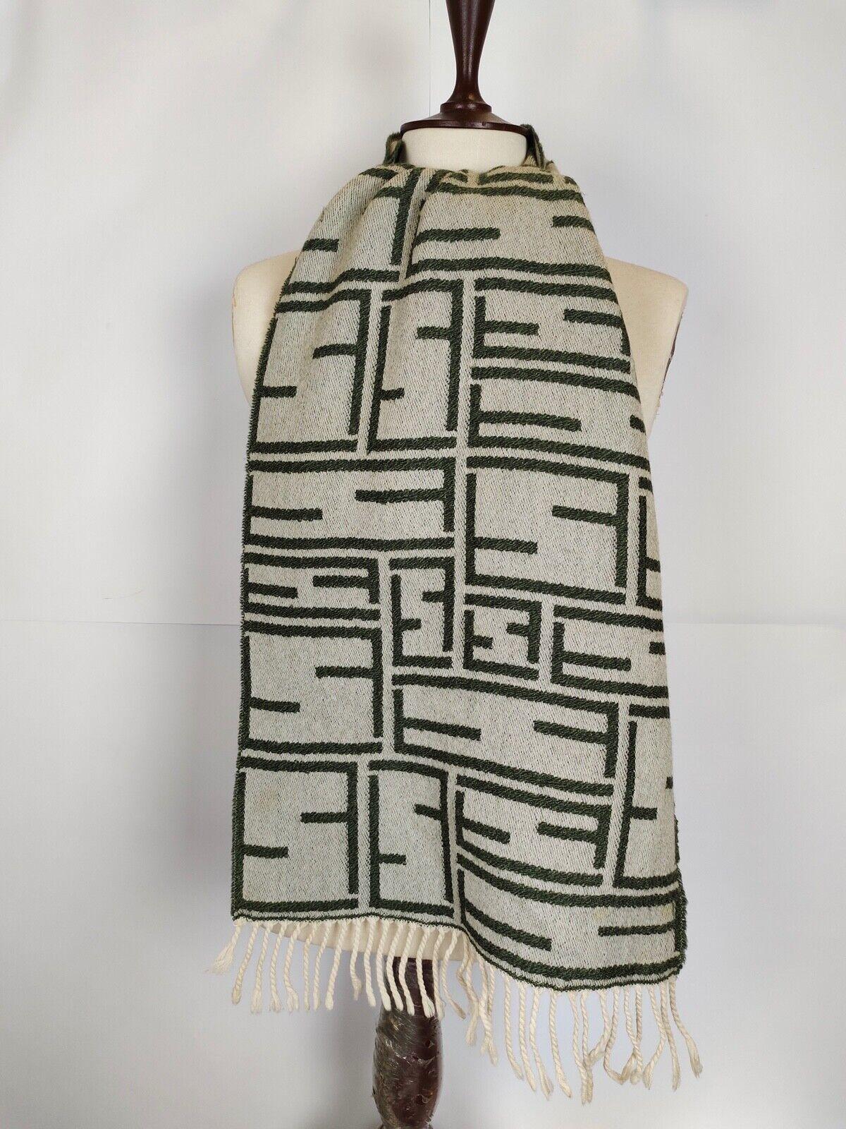 FENDI genuine vintage pattern Cream / Green winter Wool scarf Scarves