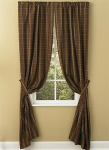 Country Primitive Tanner Chocolate Brown Curtain Panels 63